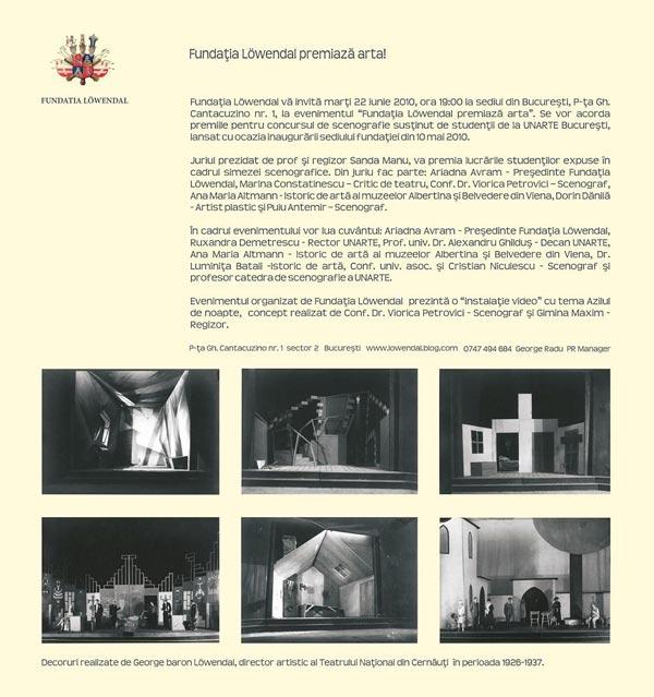 Fundaţia Löwendal premiază arta!