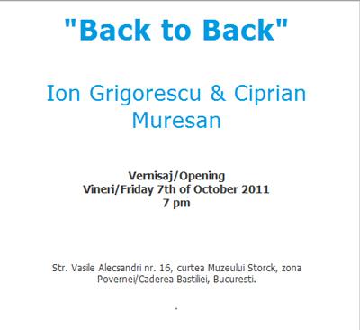 """Ion Grigorescu și Ciprian Mureșan, """"Back to Back"""" @ Galeria Andreiana Mihail"""