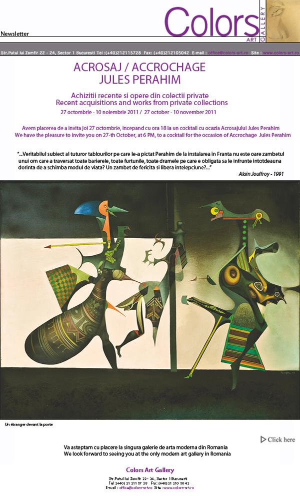 "Jules Perahim, ""Accrochage"" @ Colors Art Gallery"
