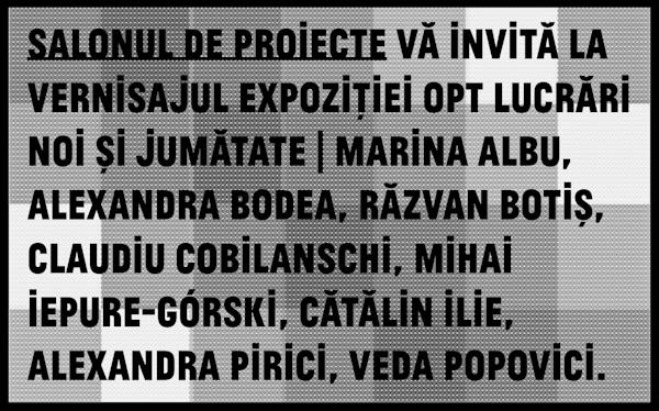 """Salonul de proiecte """"Opt lucrări noi și jumătate"""": Marina Albu, Alexandra Bodea, Răzvan Botiș, Claudiu Cobilanschi, Mihai Iepure-Gorski, Cătălin Ilie, Alexandra Pirici, Veda Popovici"""
