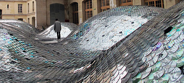 Wastelandscape Made of 65,000 Old CDs