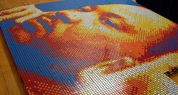 Portrait Made of 4,242 Rubik's Cubes