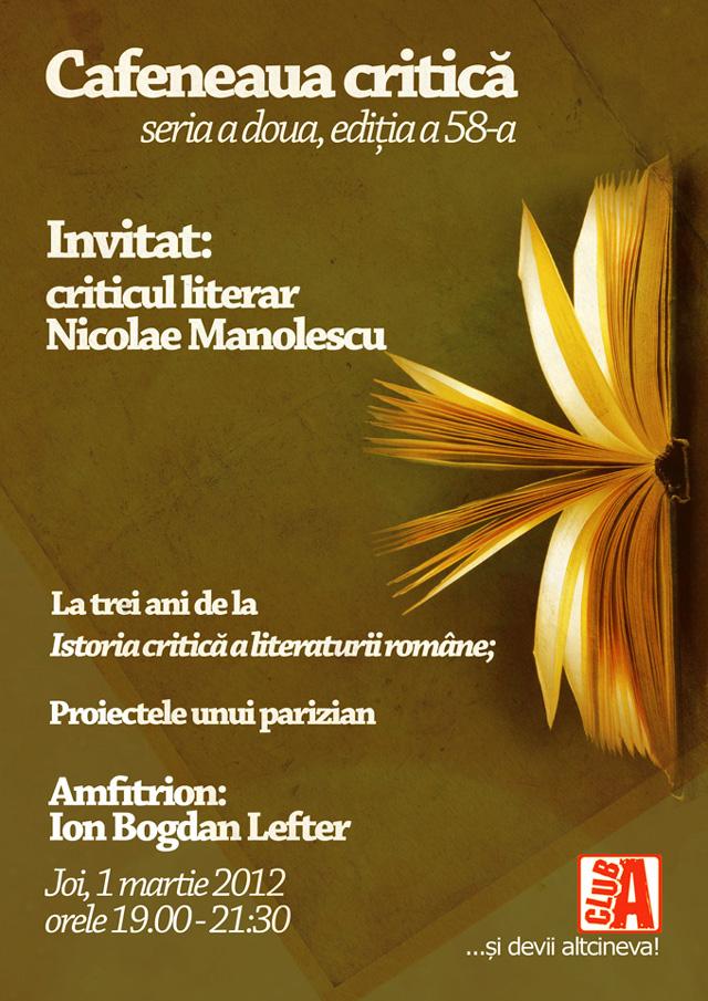 Nicolae Manolescu, din nou la Cafeneaua critică