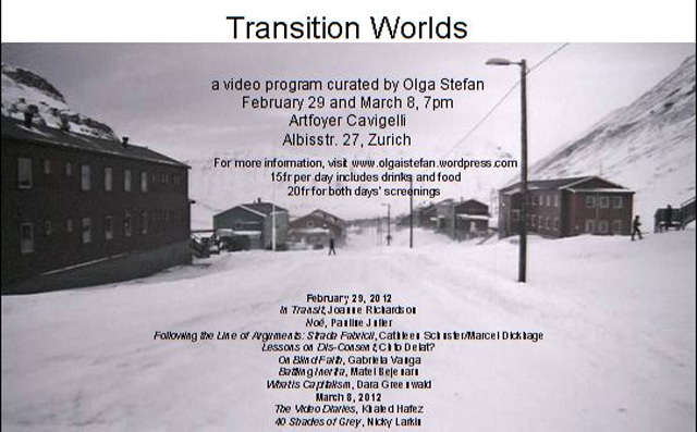 "Romanian artists in ""Transition Worlds"", video program @ Artfoyer Cavigelli"