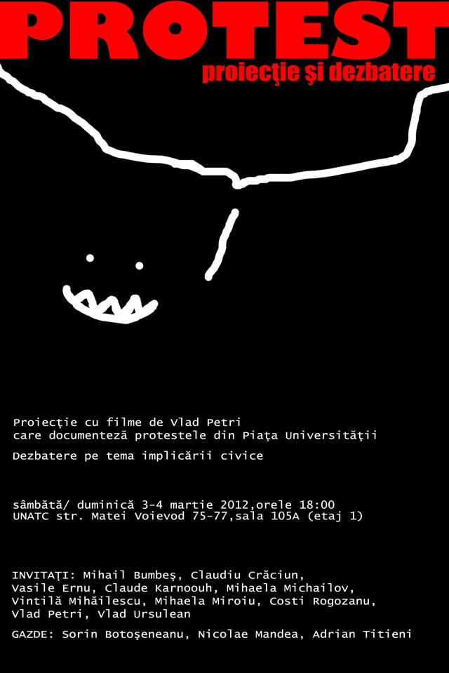 """""""Protest. Proiecţie şi dezbatere"""", filmele lui Vlad Petri ce documentează protestele din Piaţa Universităţii"""