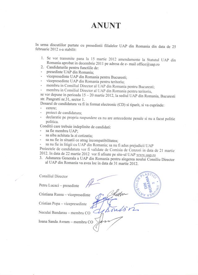 CANDIDATURI DEPUSE ȘI VALIDATE PENTRU CONDUCEREA UAP DIN ROMÂNIA