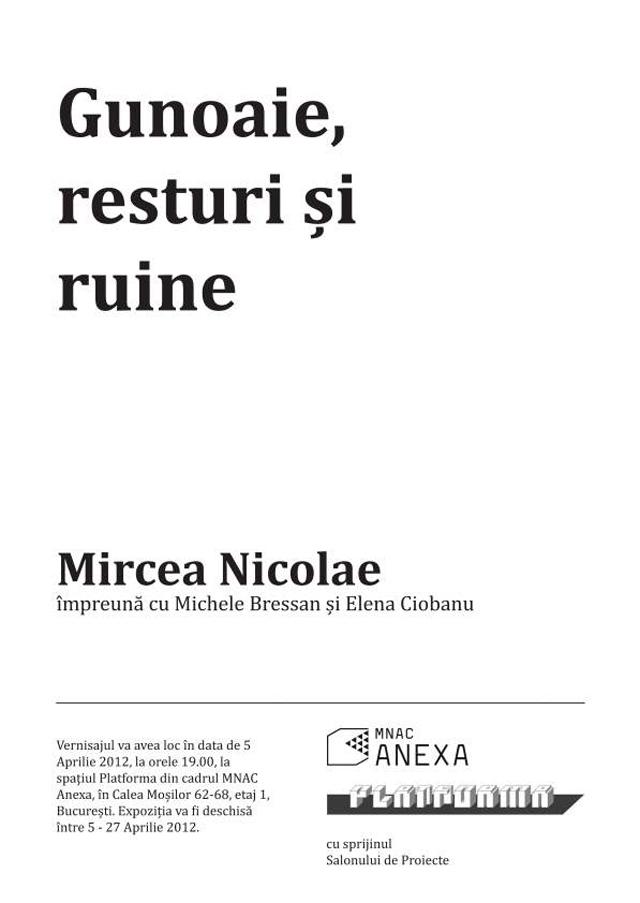 Gunoaie, resturi și ruine – o expoziție de Mircea Nicolae (împreună cu Michele Bressan și Elena Ciobanu)