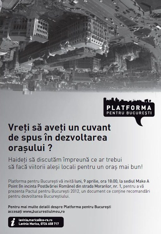 Platforma pentru București vă invită să aveți un cuvânt de spus în dezvoltarea orașului