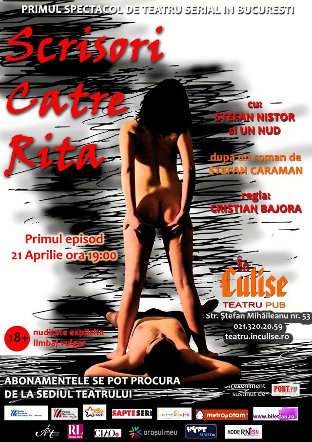 """Romanul """"Scrisori către Rita"""" ajunge pe scena Teatrului În Culise București"""