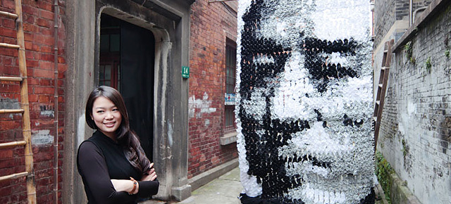 Portrait Made of 750 Pairs of Socks