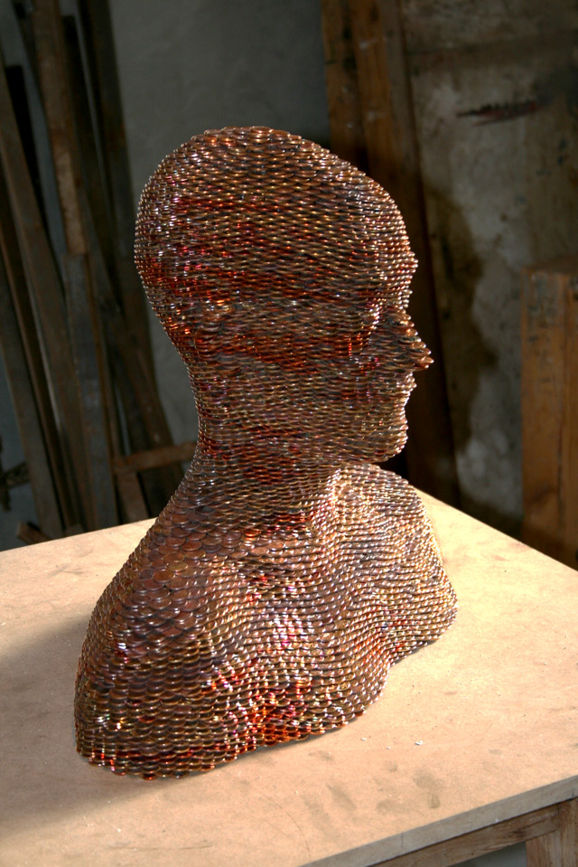 Sculptures Made from Stacked and Welded Euros