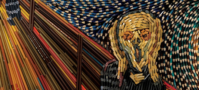 Famous Paintings Recreated Using Thousands of Color Pencils