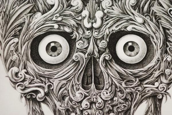 Amazing Skull Drawn with a Dip Pen by Alex Konahin