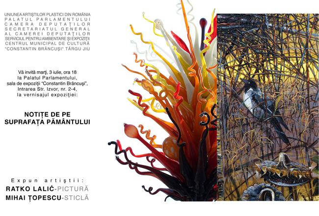 Ratko Lalic din Serbia – pictură şi Mihai Ţopescu din Romania – sticlă la Palatul Parlamentului