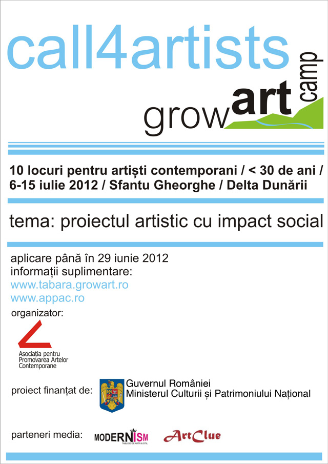 Call4artists GrowArt Camp 2012: pictură, sculptură, fotografie, video-art, instalație, land-art, street-art, performance, dans contemporan