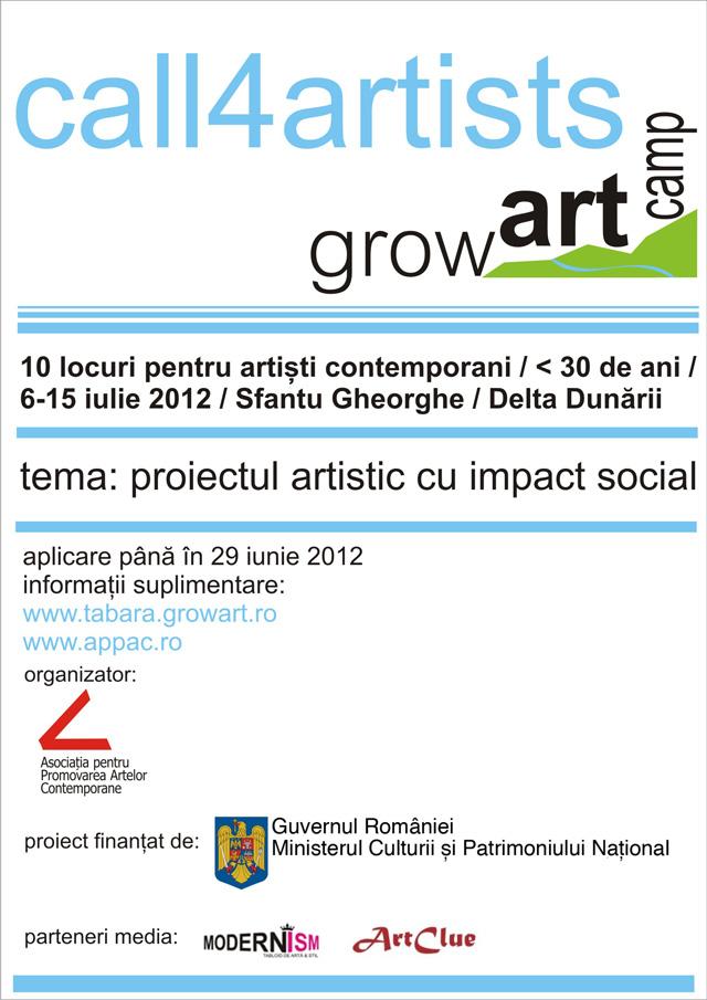 Call4artists GrowArt Camp 2012: pictură, sculptură, fotografie, video-art, instalație, land-art, street-art, performance, dans contemporan