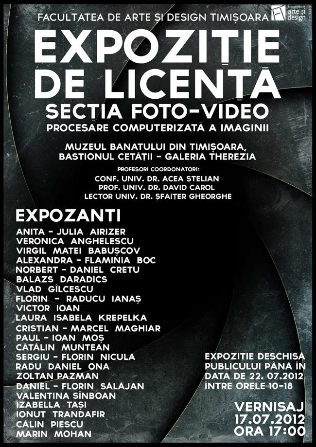 Expoziție de licență a absolvenților secției Foto-Video Procesare Computerizată a Imaginii @ Galeria Therezia, Timișoara
