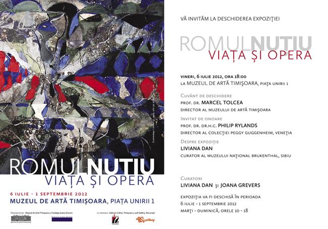 """Romul Nuțiu """"Viata și opera"""" @ Muzeul de Artă Timișoara"""