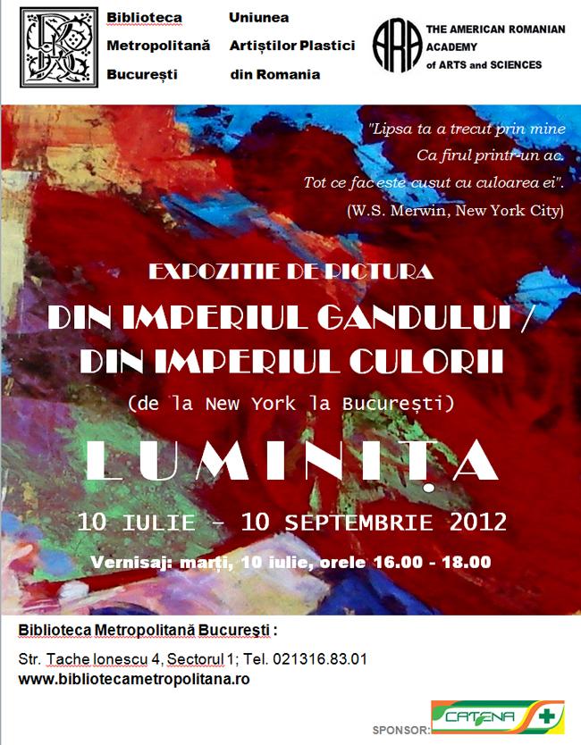"""Luminita Gliga """"Din imperiul gândului / Din imperiul culorii"""" @ Biblioteca Metropolitană București"""