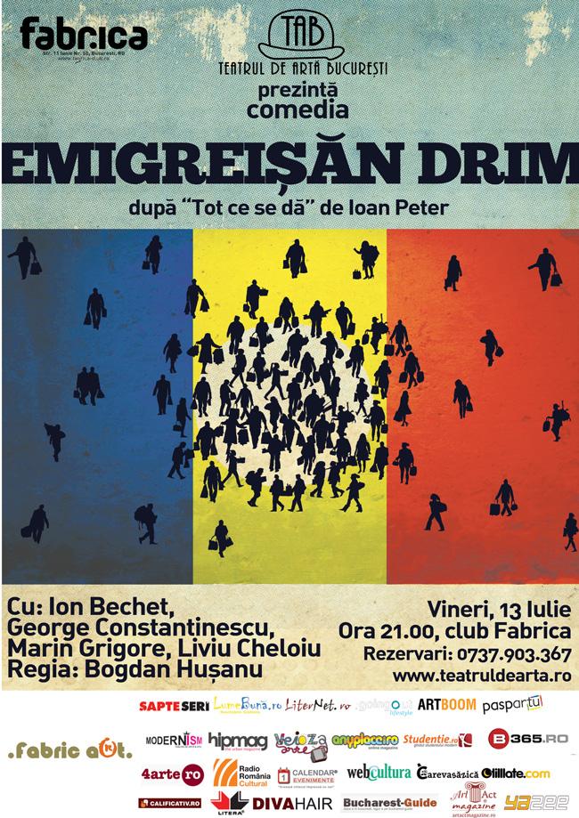 Teatrul de Artă București te provoacă la Emigreişăn Drim, cu ochii deschişi şi în aer liber