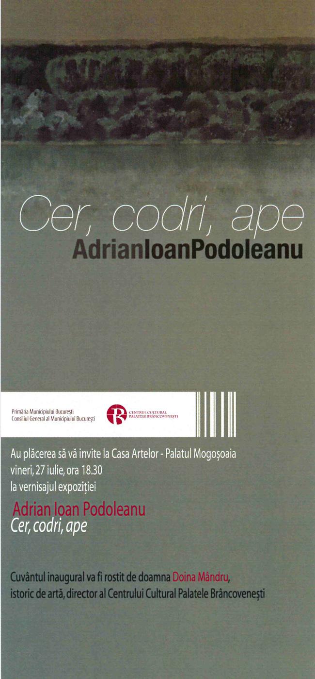 """Adrian Ioan Podoleanu, """"Cer, codri, ape"""" @ Centrul Cultural Palatele Brâncovenești de la Mogoșoaia"""