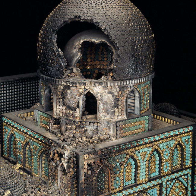 Religious miniature churches, synagogues, and mosques built from ammunition and firearms