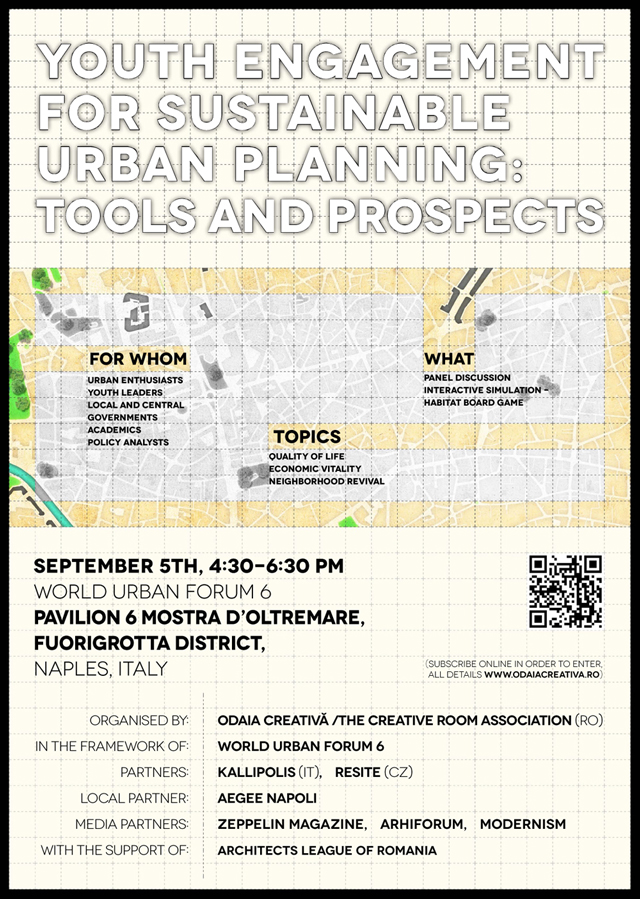 Primul eveniment organizat de către o organizaţie din România în cadrul Forumului Mondial Urban 6:  rolul tinerilor în procesele de planificare urbană @ Odaia Creativă