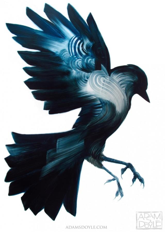 Gestural paintings of birds by Adam S. Doyle