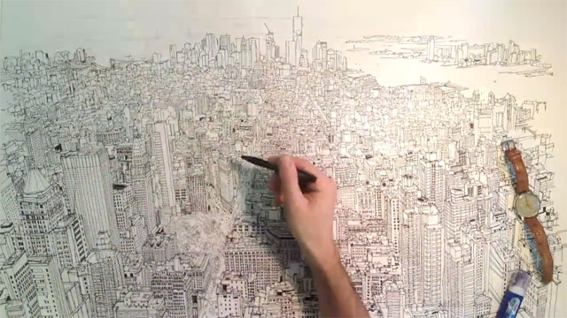 Amazing Timelapse Video of Patrick Vale Drawing the Manhattan Skyline
