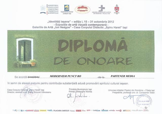 """Diploma de onoare @ Expozitia """"Identitati iesene"""", editia I"""