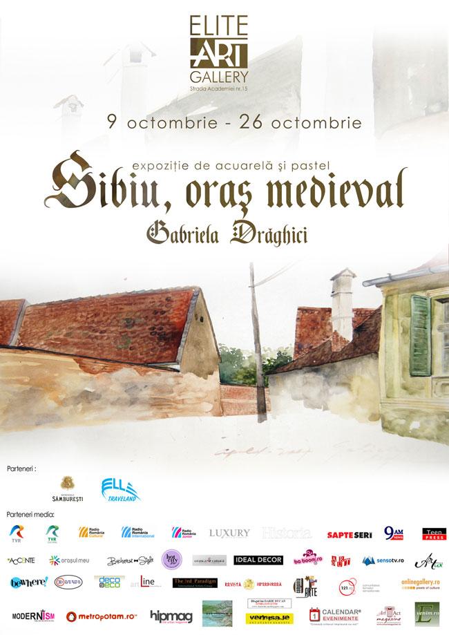 Sibiu, oras medieval, expoziţiei de acuarelă şi pastel semnată Gabriela Drăghici @ ELITE ART Gallery