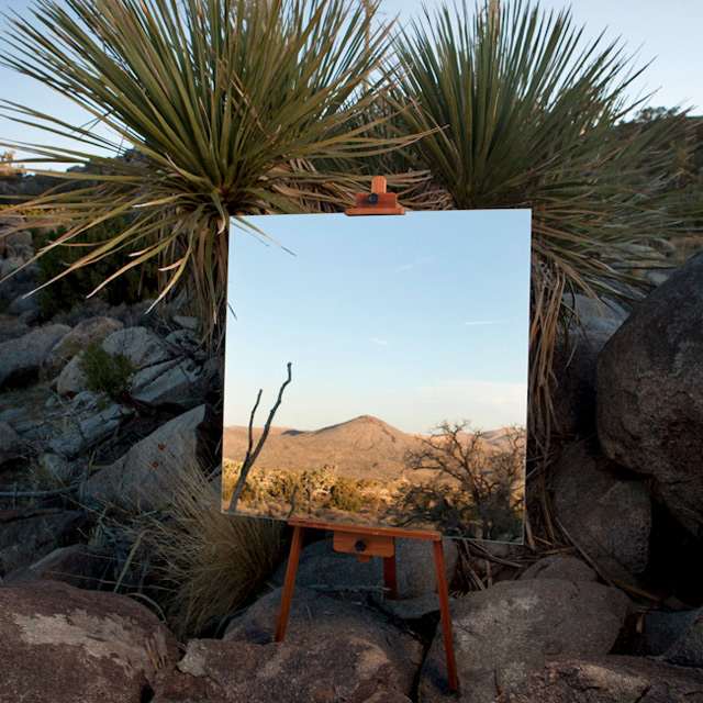 Mirrors on Easels Create the Illusion of Desert Landscape Paintings