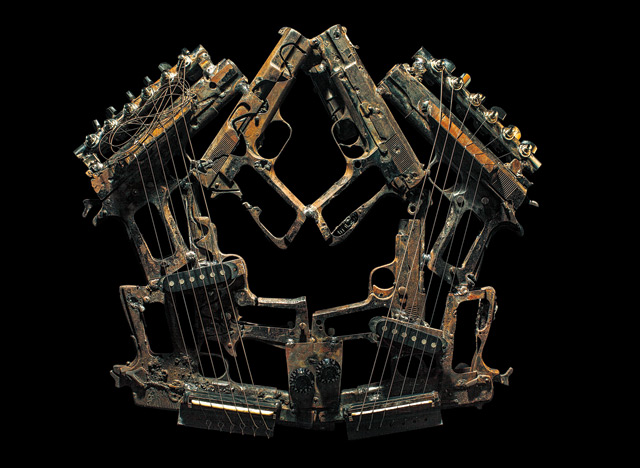 Artist Fabricates 50 Functional Instruments from Destroyed Drug War Weapons