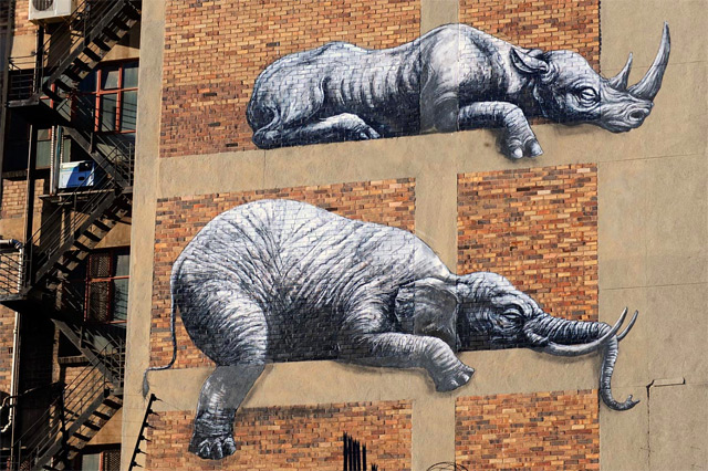 African Animals on a Building Facade in Johannesburg