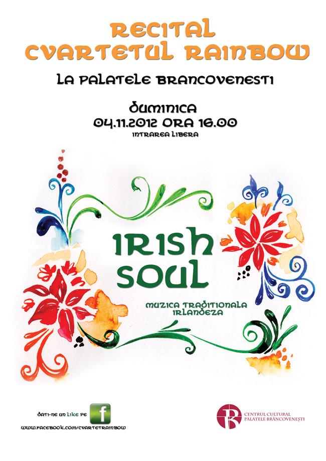 """Recital de excepție RAINBOW QUARTET intitulat """"IRISH SOUL – Muzică Tradițională Irlandeză"""" @ Palatul Mogoșoaia"""