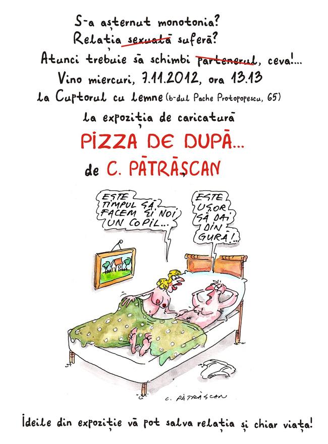 """Expoziție de caricatură """"Pizza de după…"""" de Costel Pătrășcan"""