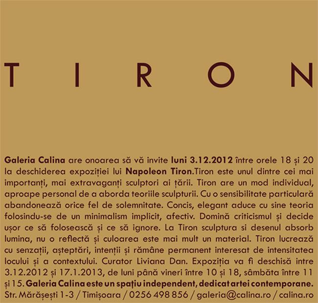 Napoleon Tiron @ Galeria Calina, Timişoara
