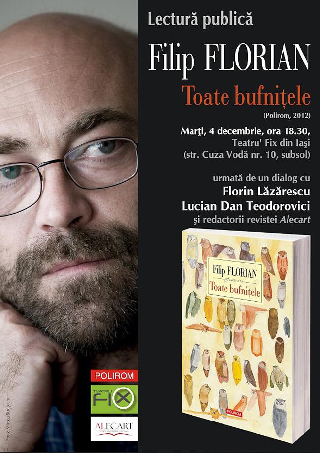 Bestsellerul Polirom la Gaudeamus 2012, Toate bufniţele de Filip Florian, se lansează la Iaşi
