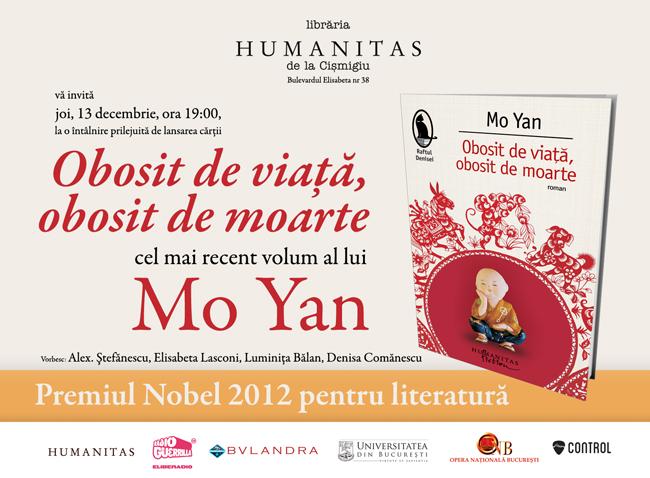 Cel mai nou roman al lui Mo Yan, laureatul premiului Nobel pentru literatură 2012, se lansează la Libraria Humanitas de la Cișmigiu