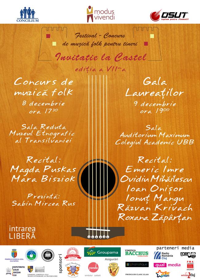"""Festival – Concurs de muzică folk pentru tineri """"Invitaţie la castel"""", ediţia a VII-a"""