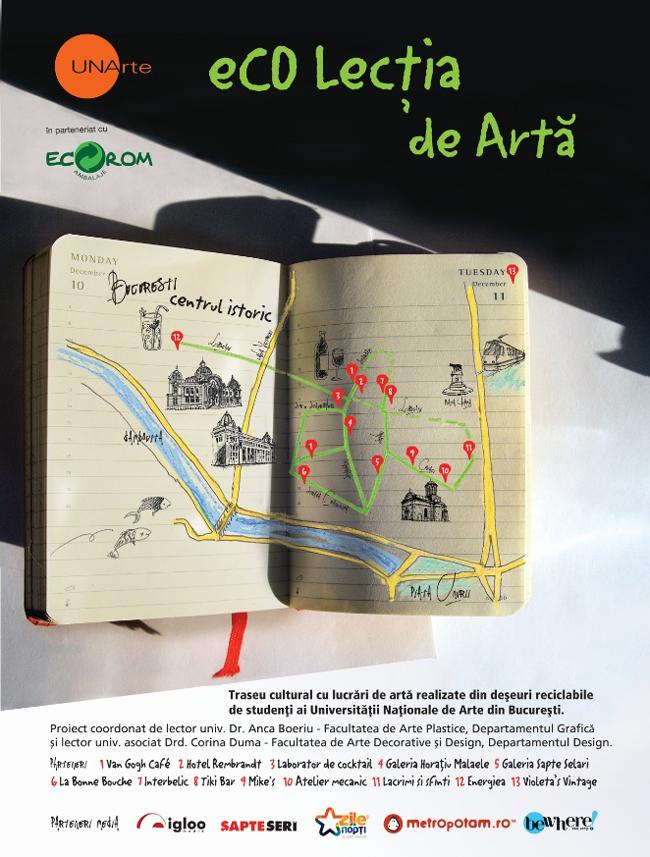 """""""eCO-LECȚIA de ARTĂ"""" – un traseu cultural în Centrul Vechi cu lucrari de artă realizate din deșeuri reciclabile"""