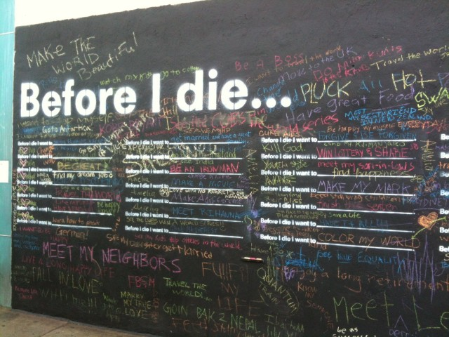 """Before I Die"" interactive public art project"