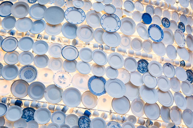 A Christmas Tree Made from 5,000 Donated Ceramic Dishes and Cups in Belgium