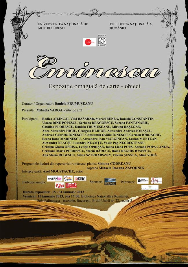 Expoziție omagială Eminescu @ Biblioteca Naţională a României