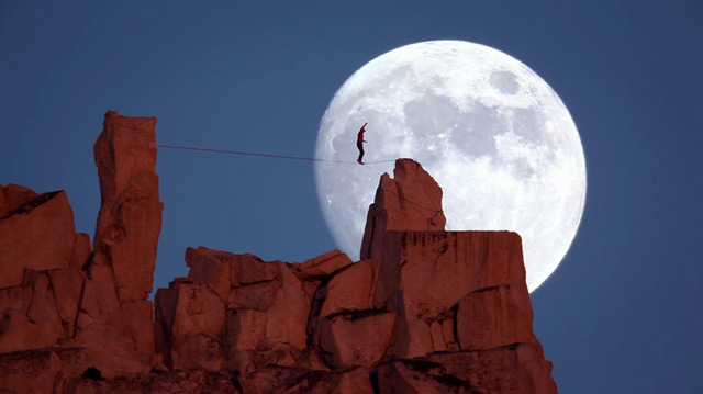 Moonwalk: Free Climber Dean Potter Walks a Highline Across a Rising Full Moon at Yosemite National Park