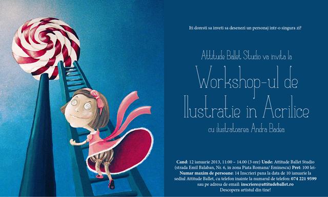 Workshop de ilustratie în acrilice pentru adulți, la București