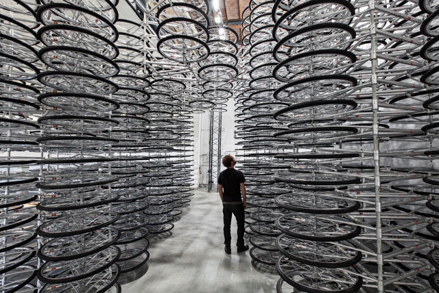 'Stacked' by Ai Weiwei: 760 Stacked Bicycles at Galleria Continua