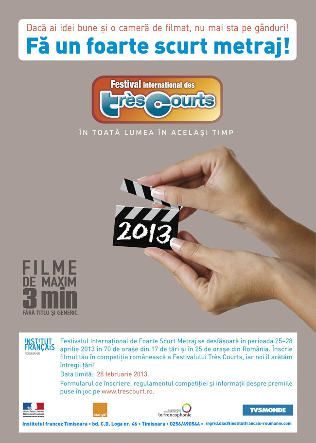 Apel la participare pentru selecția de filme de foarte scurt metraj, TRES COURTS
