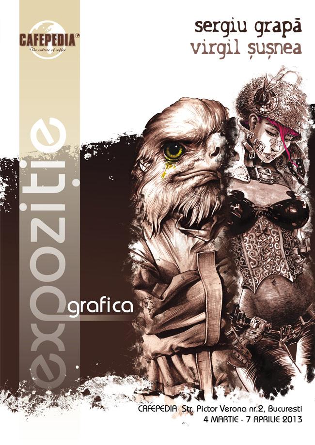 Expoziția de grafică semnată de Sergiu Grapă și Virgil Șușnea @ Cafepedia, București