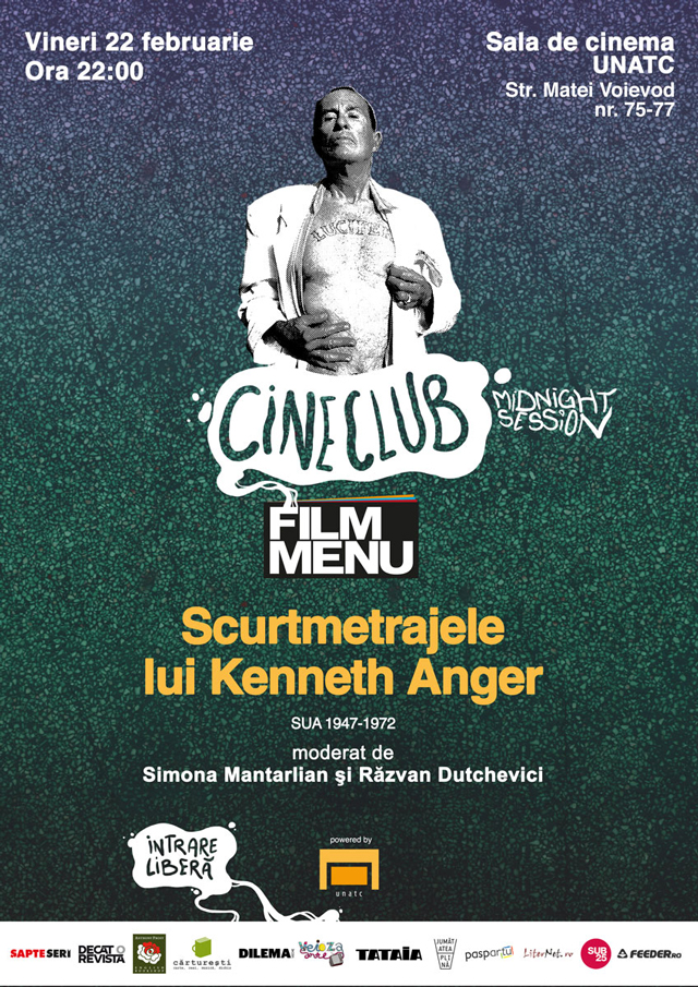Scurtmetrajele lui Kenneth Anger, sala de cinema a UNATC, în cadrul Cineclubului Midnight Session